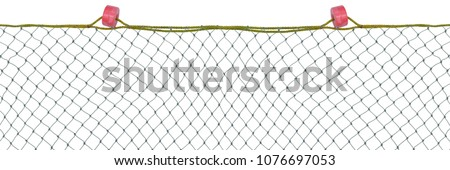 Commercial fishing nets isolated on white background,mesh pattern background  Royalty-Free Stock Photo #1076697053