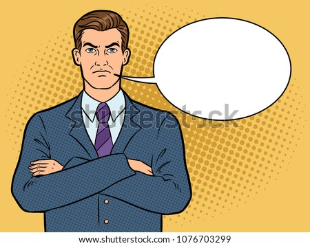 Angry serious boss businessman pop art retro raster illustration. Text bubble. Color background. Comic book style imitation.