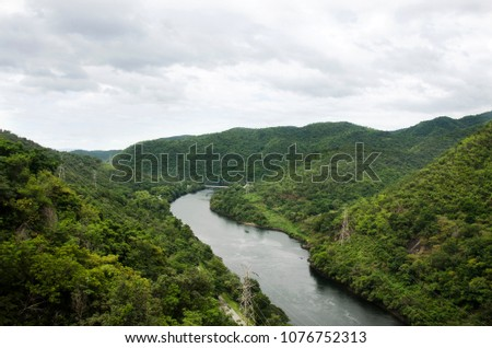 View landscape of mountain and forest with Bhumibol Dam and spillways formerly known as the Yanhee Dam in Tak, Thailand #1076752313