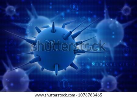 3d rendering Virus bacteria cells background #1076783465