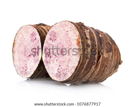 fresh taro isolated on a white background #1076877917