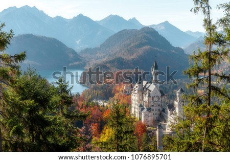 Awesome alpine highlands in sunny day. Wonderful aerial landscape . majestic Neuschwanstein castle. near Munich in Bavaria, Germany. Popular Photography Locations. Ideas for Great Travels