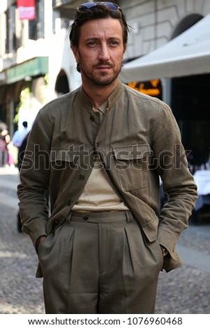 MILAN, Italy- April 20 2018: Alessandro Agazzi on the street during the Milan Design Week #1076960468