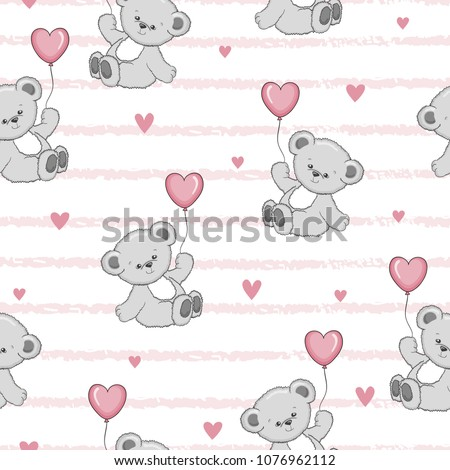 Cute cartoon Teddy bears with balloons seamless pattern. Vector baby background.