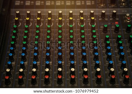 Audio controler panel with colorful button #1076979452