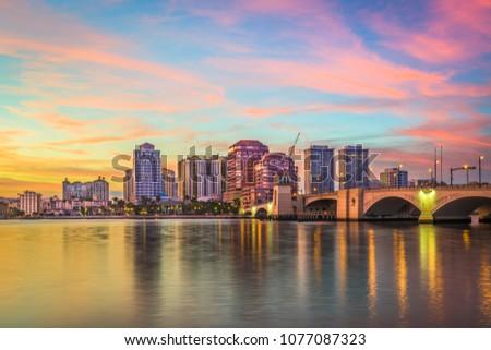 West Palm Beach, Florida, USA downtown skyline at dusk. #1077087323