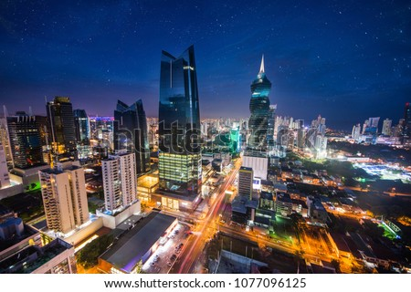 Panoramic view of Panama City at night, commercial area with main banks and government offices. #1077096125