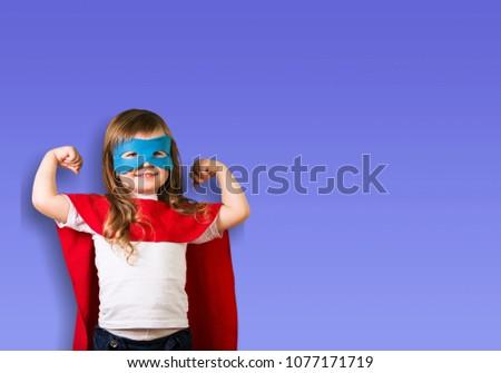 Little child is playing superhero #1077171719
