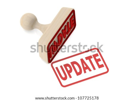 Wooden stamp with update word