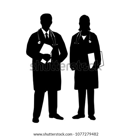 Silhouette of Medical staff . Vector