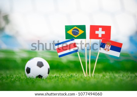 Group E - National Flags of Brazil, Switzerland, Costa Rica, Serbia. Flags on green grass on football stadium #1077494060