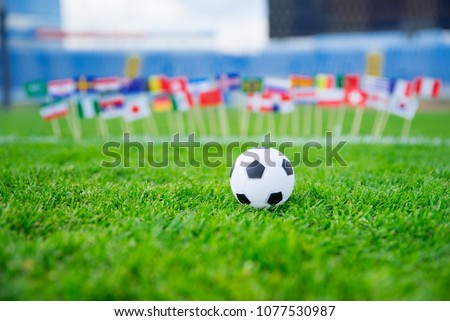 Flags of all football nations on green grass. Football ball, Fans, support photo, edit space.  #1077530987