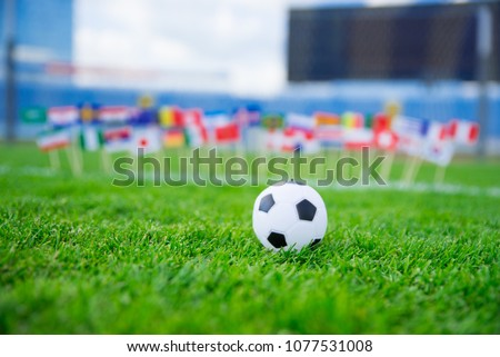 Football pitch, world nations flags, blue sky, football net in background. Sport photo, edit space.. #1077531008