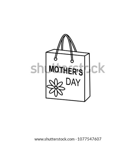 a gift bag for mother's day icon. Element of mother day for mobile concept and web apps. Thin line icon for website design and development app development. Premium icon on white background