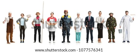 Collage about different professions. Group of men and women in uniform standing isolated on white . Full length of people with different occupations. Buisiness, professional, labor day concept Royalty-Free Stock Photo #1077576341