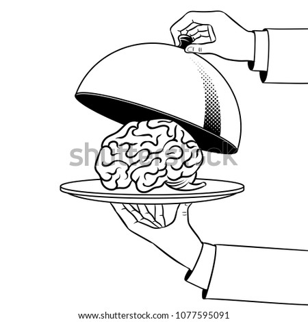 Human brain as food on dish with cloche coloring retro raster illustration. Isolated image on white background. Comic book style imitation.