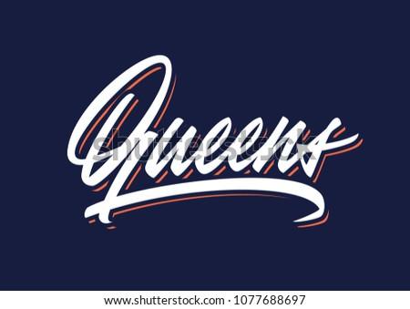 Queens brush vector lettering