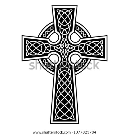 Celtic Cross with white patterns on a black background