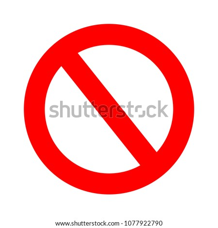 vector stop sign icon. No sign, red warning isolated Royalty-Free Stock Photo #1077922790