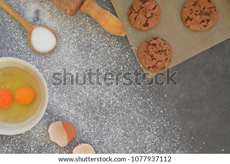Baking cookies on a kitchen board #1077937112