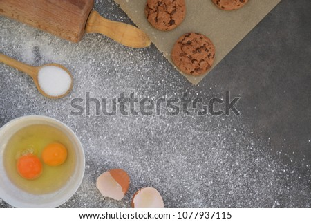 Baking cookies on a kitchen board #1077937115