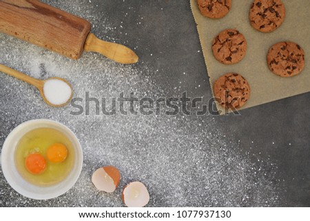 Baking cookies on a kitchen board #1077937130