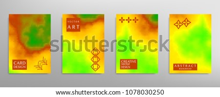 Abstract colorful art, cover template with geometric elements. Poster, flyer with colored gradient, neon glow vector background size a4. Bright colors, artistic design for card, invitation, brochure #1078030250
