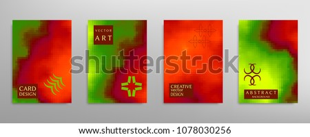 Abstract colorful art, cover template with geometric elements. Poster, flyer with colored gradient, neon glow vector background size a4. Bright colors, artistic design for card, invitation, brochure #1078030256