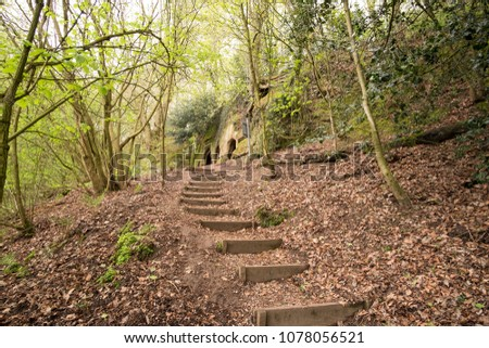 Woodland steps leading up to the hermitage cave in Dale Abbey Derbyshire, UK #1078056521