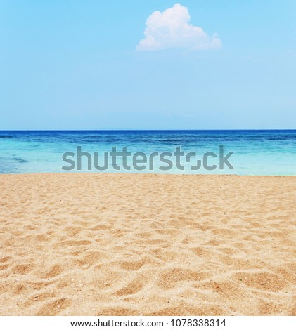 Beautiful sand beach and blue sky #1078338314