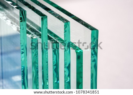Sheets of Factory manufacturing tempered clear float glass panels cut to size #1078341851