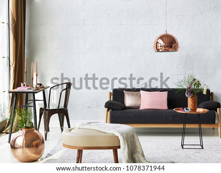 Living room and room concept with furniture decoration. Table sofa chair and home ornament decoration with window style. #1078371944