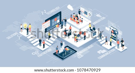 Isometric virtual office with business people working together and mobile devices: business management, online communication and finance concept Royalty-Free Stock Photo #1078470929