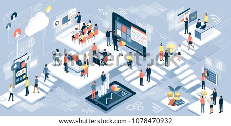 Isometric virtual office with business people working together and mobile devices: business management, online communication and finance concept Royalty-Free Stock Photo #1078470932