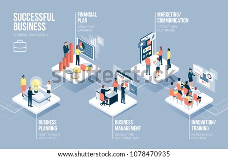 Business and technology infographic with corporate people working together on app buttons and business concepts Royalty-Free Stock Photo #1078470935