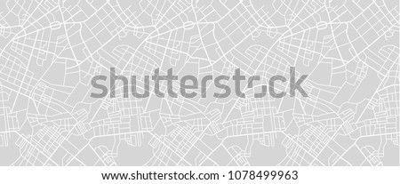 Editable vector street map of town as seamless pattern. Vector illustration. Royalty-Free Stock Photo #1078499963