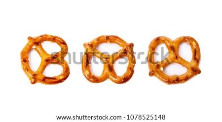 Salty cracker pretzel isolated on white background #1078525148