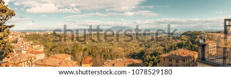 Panoramic view of the high part of Perugia, Italy #1078529180