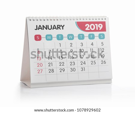 January White Office Calendar 2019 Isolated on White #1078929602