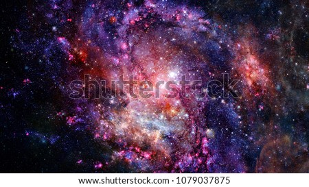 Cosmic galaxy background with nebula, stardust and bright shining stars. Elements of this image furnished by NASA. Royalty-Free Stock Photo #1079037875