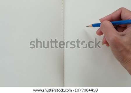 hand writing empty book  #1079084450
