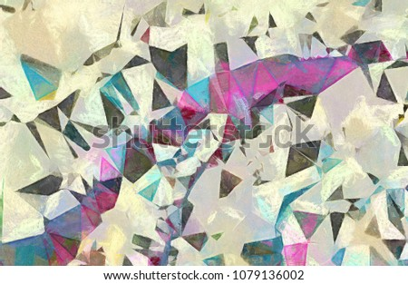 Abstract geometric texture Impressionism background. Painting on canvas watercolor artwork. Hand drawn polygon art. Modern style. Good for printed pictures, design postcard, posters and wallpapers #1079136002
