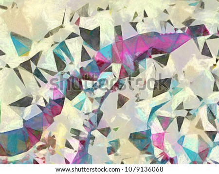 Abstract geometric texture Impressionism background. Painting on canvas watercolor artwork. Hand drawn polygon art. Modern style. Good for printed pictures, design postcard, posters and wallpapers #1079136068