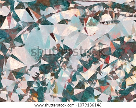 Abstract geometric texture Impressionism background. Painting on canvas watercolor artwork. Hand drawn polygon art. Modern style. Good for printed pictures, design postcard, posters and wallpapers #1079136146