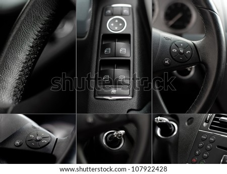 Car interior wheel, controls and radio details collage #107922428
