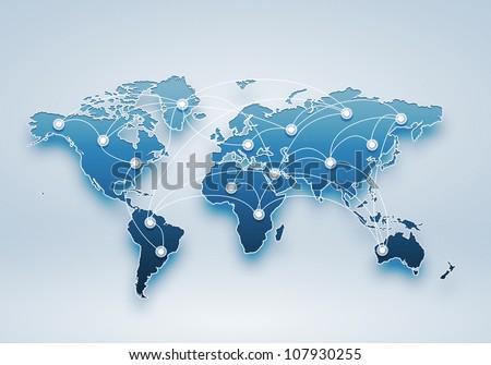 Image of a light blue world map #107930255