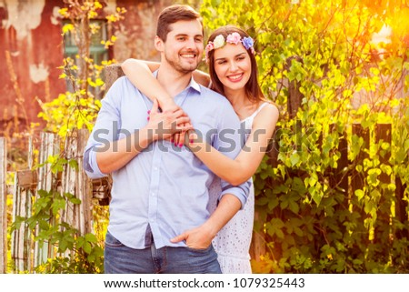 Young couple being in love having a nice time together in the small village. #1079325443
