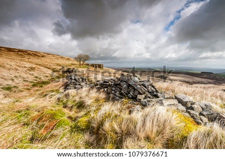 the derelict farmhouse of top withens associated with wuthering heights in the novel of the same name by emily bronte #1079376671