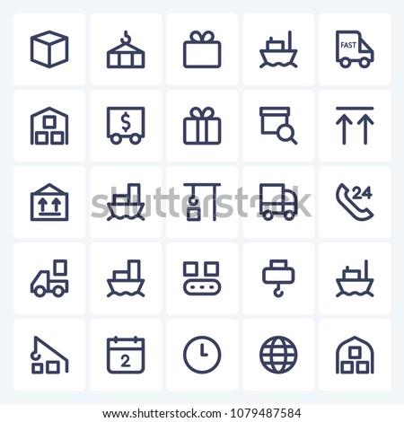 Set Of 25 Logistic Delivery Editable Icons. Professional, pixel-perfect icons optimized for both large and small resolutions. Barcode, compass, customer service, flight and more icons. EPS 10 format. #1079487584