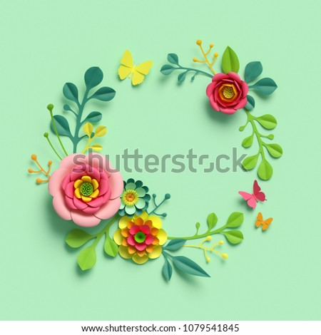3d render, craft paper flowers, round floral wreath, botanical arrangement, blank space frame, bright candy colors, nature clip art isolated on mint green background, decorative embellishment